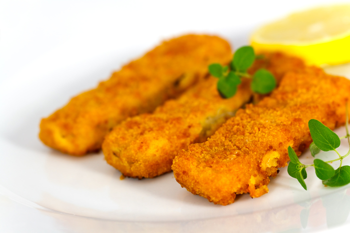 Homemade fish fingers with sweet potato cubes | MummyPages ...